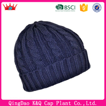 Cheap Navy Winter Polyester Beanie Hats For Men