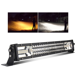 2019 Dual 2 Row Dual Color Changing 22 32 42 52 inch Flashing 3 Row Strobe Curved LED Light Bar
