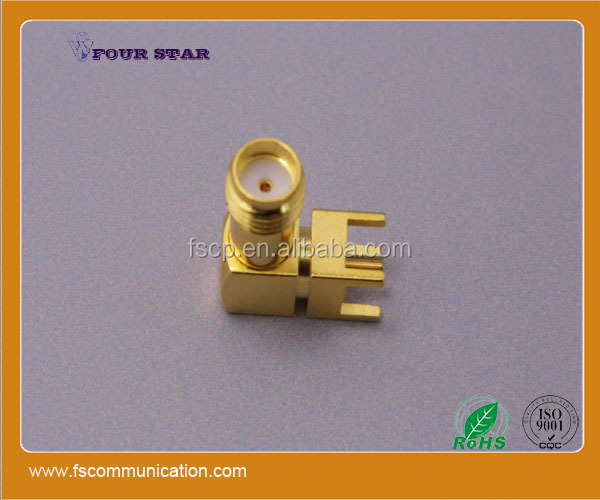 female jack right angle 90 degree rf coax sma connector for pcb mount