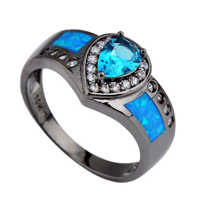 be10c676da GDSTAR Ocean Blue Fire Opal Stone Ring Heart Aquamarine Sapphiret Rings  White CZ Black Gold Filled