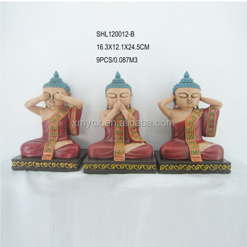 Set Of 3 Sitting Buddha Statue See No Evil Hear