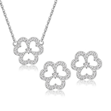 Elegant Flower Cheap Necklace and Earring Sets Costume Bridal Jewelry Set With Brilliant CZ