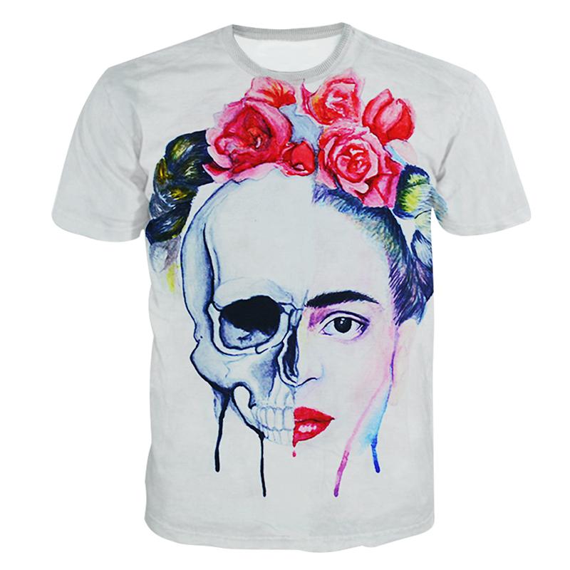 e53710bb5 Get Quotations · 2015 New Arrival Women/Men Summer Flower Skull Head Printed  3d T shirt Cool Top