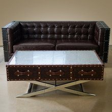 Industrial Riveted Metal Coffee Table Industrial Riveted Metal