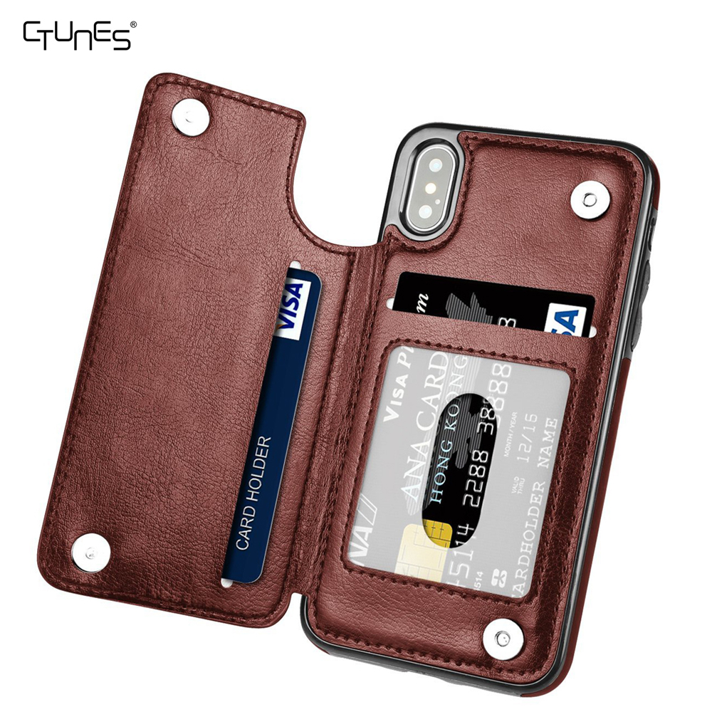 CTUNES Leather Wallet Magnetic Clasp Card Slots Holder Shockproof Folio Flip Protective Case For iPhone X