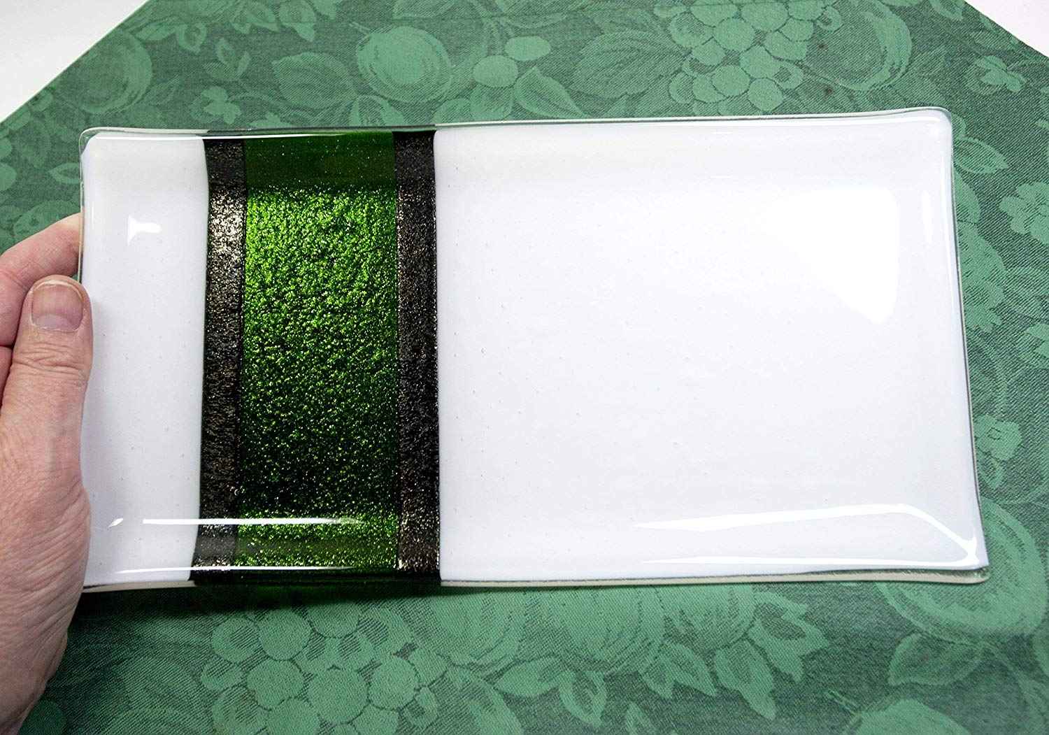 Glass Platter Holiday Plate Green and White Fused Glass Christmas Tableware