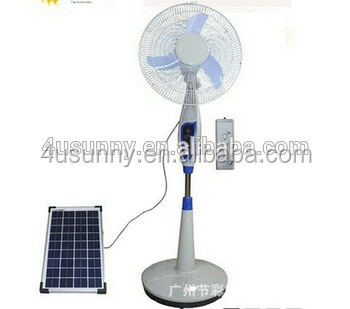 Highly active 12V DC Solar Stand Fan with solar panels in 16 Inches Colors Optional OEM Welcomed