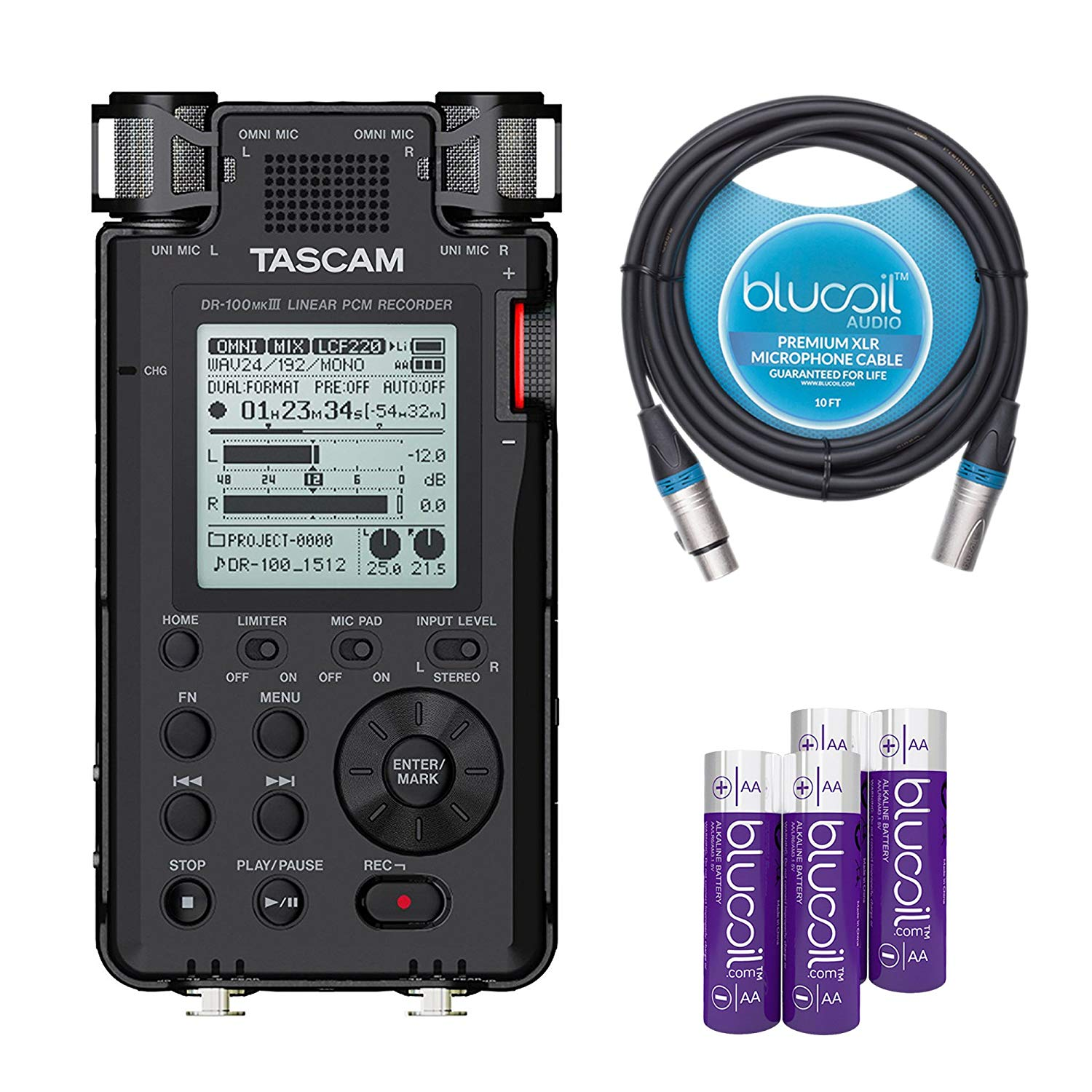 TASCAM DR-100mkIII Portable Recorder with Linear PCM Compatibility -INCLUDES- Blucoil Audio 10' Balanced XLR Cable AND 2-Pack of AA Batteries