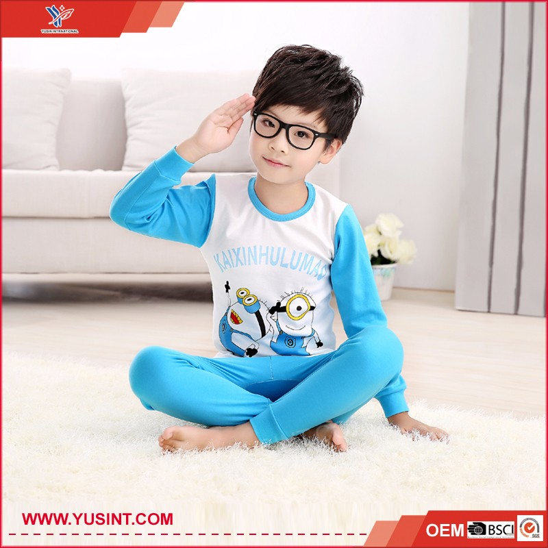 100% cotton cartoon pattern kids pajamas wholesale long johns for children
