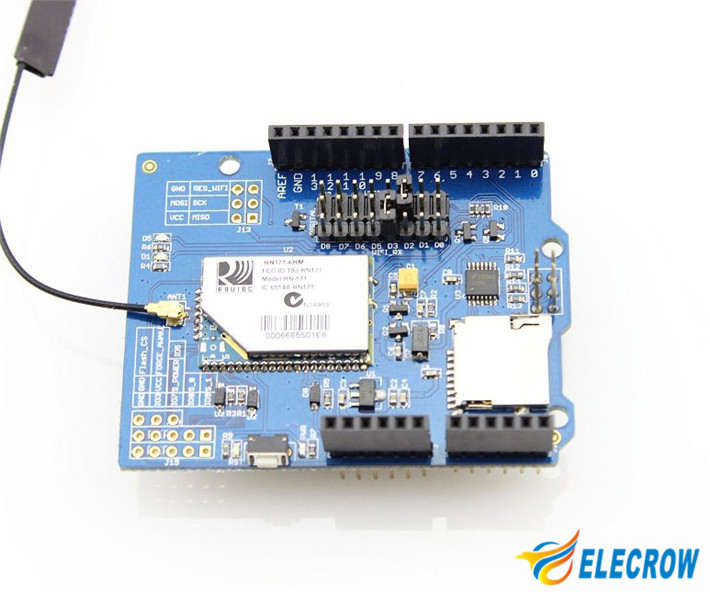 Free Shipping RN171 WIFI Shield for Arduino (UNO R3/Mega R3 100%  compatible) Expansion Board wifi shield Module Smart Home