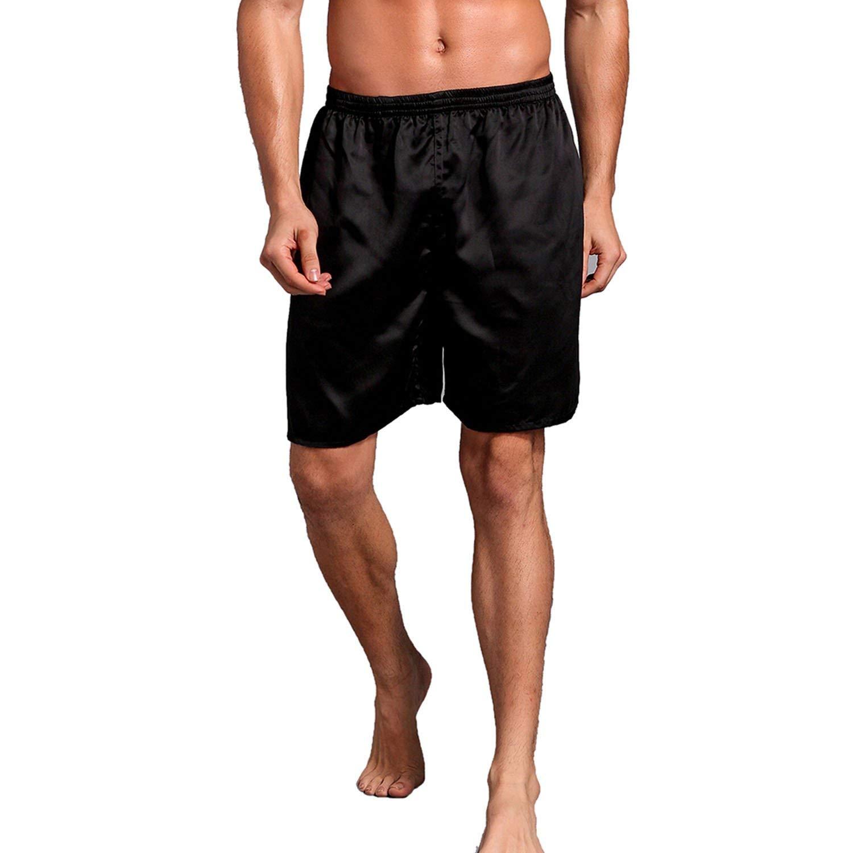 WSPLYSPJY Mens Satin Boxers Underwear Shorts Silk Luxury Loungewear Pajama Pants