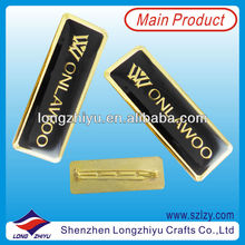Rectangular black paint filled Gold Name Badge Fashion Lapel Pin Manufacturer in China(LZY10000344)
