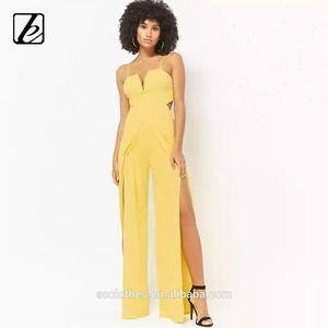 sexy one piece latex yellow jumpsuit for women