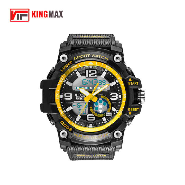 Men's Military Sport Digital Analog Stylish Waterproof Outdoor Watch Dual Electronic Quartz Movement with Back Light