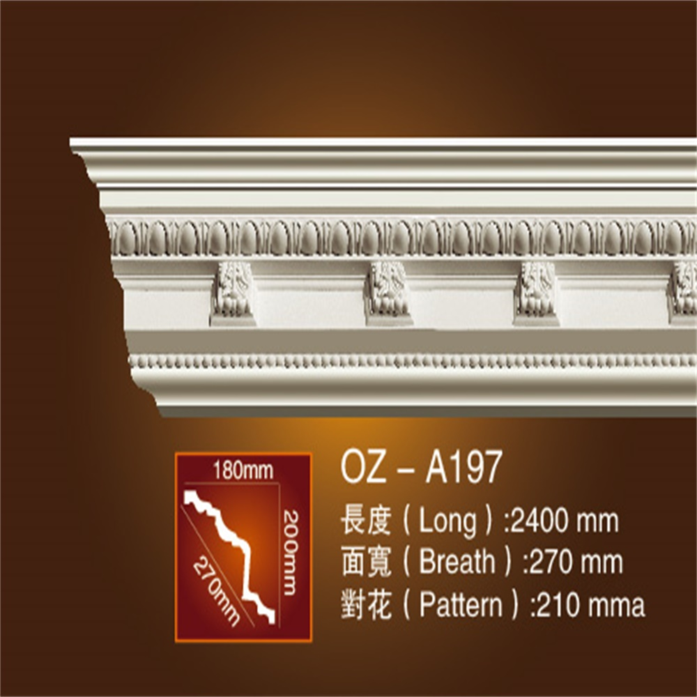Polyurethane material cornice moulding for interior decoration
