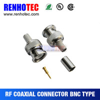 ROHS approved straight BNC plug to RCA jack Connector solder type