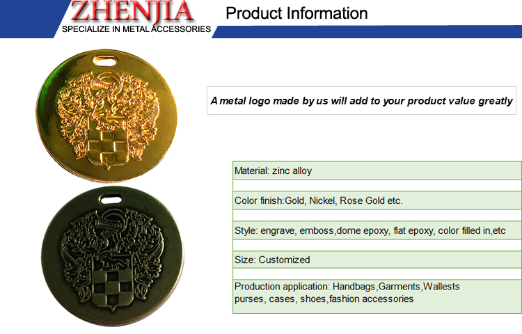 Cheap Price Round Shape Metal Labels With Brand Logo