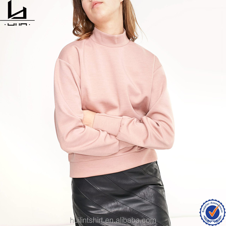 Garment wholesale china back zipper mock neck pink sweatshirt