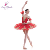 Standard Size Red Pre-Professional Ballet Costume Stiff Tulle Rehearsal Pancake Tutu for Girls and Women BLL013