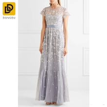 New elegant lavender embroidered tulle gown Victorian lace prom dress