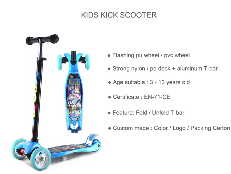 China factory model printed color sit 3 wheel board scooty skate scooter for kids boys