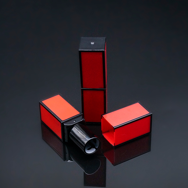 red black plastic square empty lipstick <strong>tube</strong>
