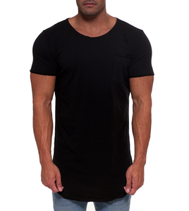 Wholesale extended black pocket t shirt spandex cotton blank scoop neck t shirt for men