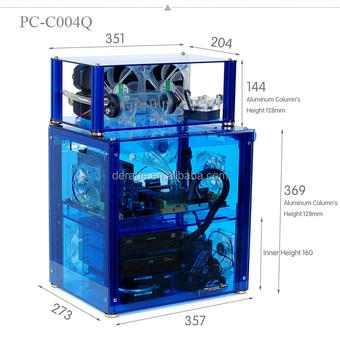 PC C004Q Transparent Acrylic Water Cooling Horizontal Unique Computer Case