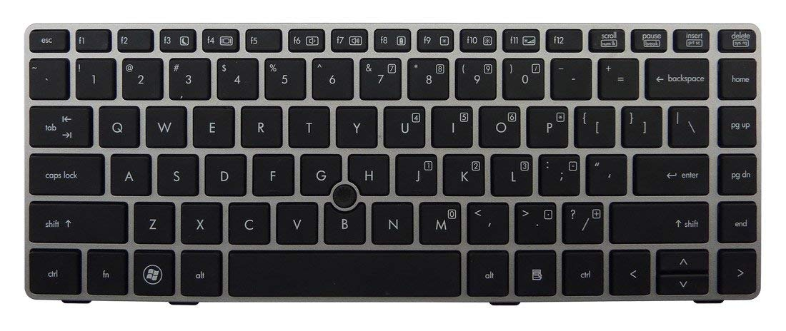 New US Black Keyboard with Silver Frame & Mouse Pointer for HP Elitebook 8460P 8460W ProBook 6460b 6465b series laptop.