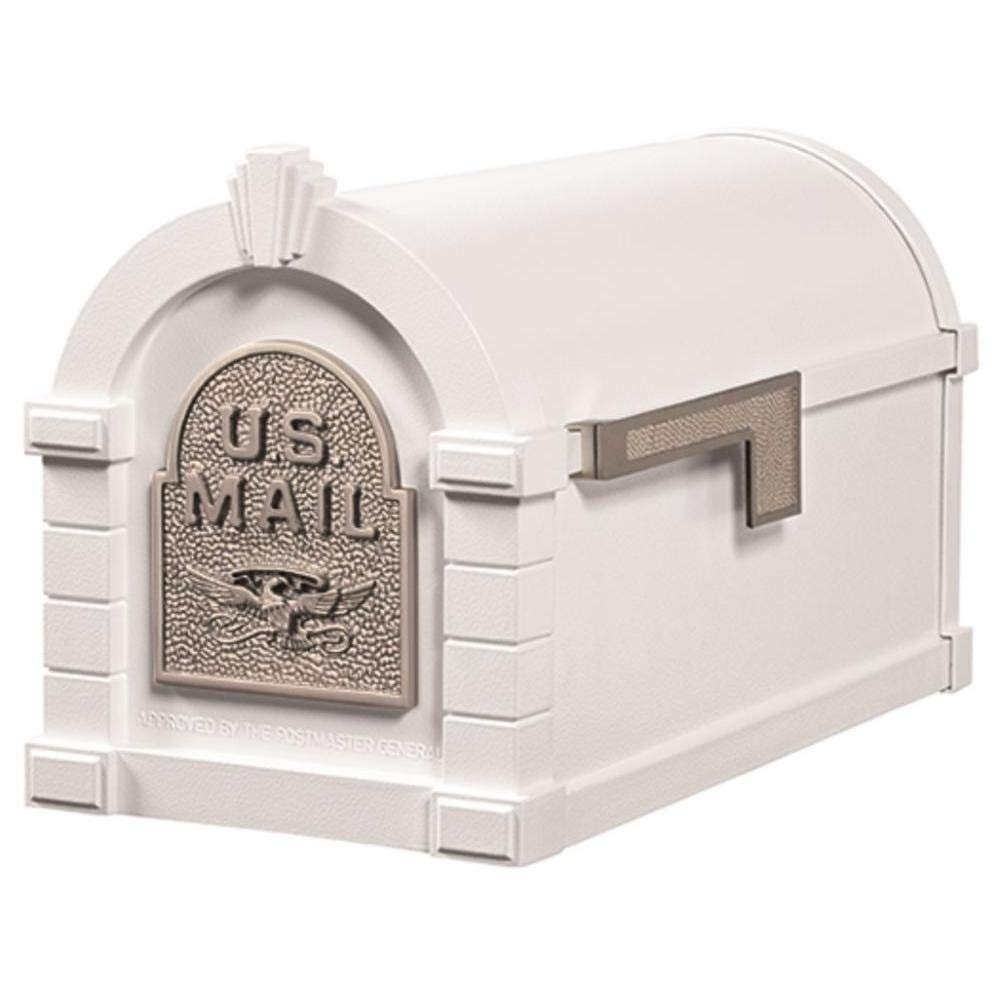 Gaines Original Series Keystone Mailbox In White And Satin Nickel