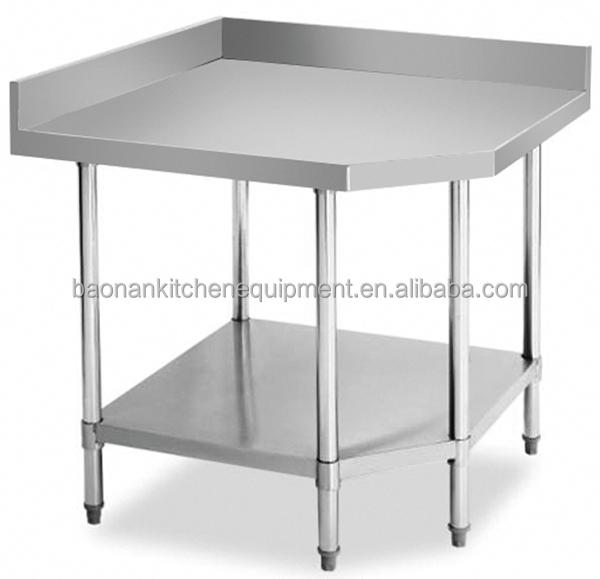 Stainless Steel Corner Table Prep Bench Commercial Kitchen Business  Restaurant 90x90cm