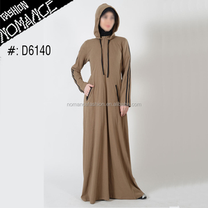 Latest burqa designs Striped Hooded Zipper Activewear Jersey Kuwait Hijab Muslim Dress Abaya