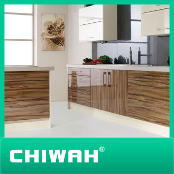 Cheap E1 Grade MDF, Particle Board , Plywood Fiber Laminate Kitchen Cabinet  For Wholesale