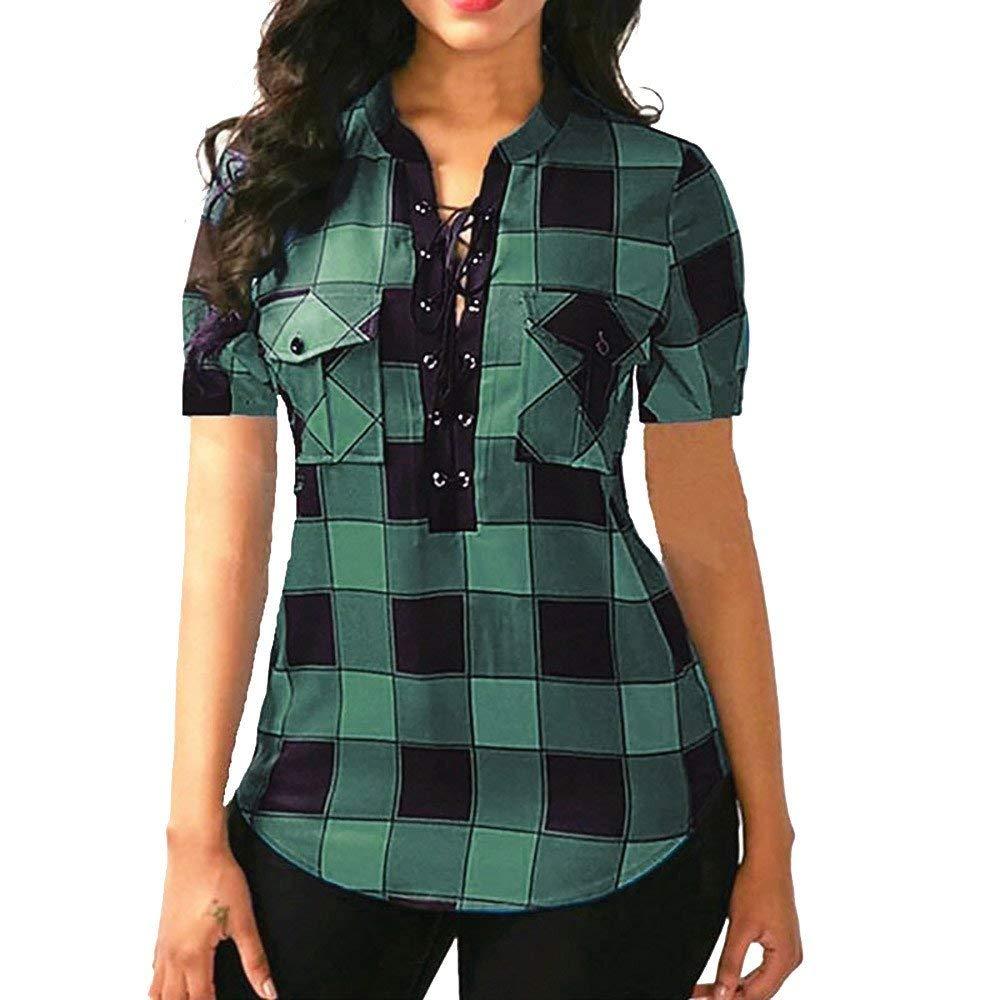 a664a2acbbe501 Get Quotations · Littleice Womens Blouse Plus Plaid Criss Cross Front  Lattice Short Sleeve Blouse Pocket Pullover Tops Shirt