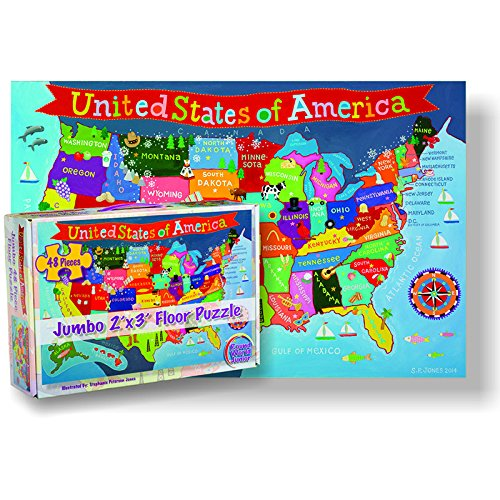 "Round World Products RWPKP04 United States Floor Puzzle for Kids, 24"" Height, 36"" Length, 48 Pieces"