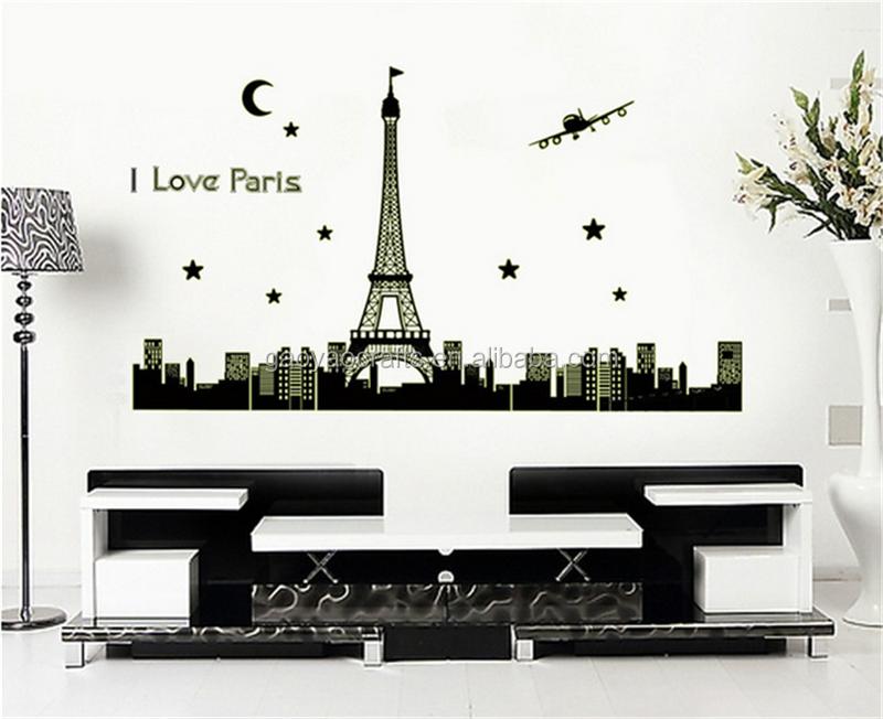 Wallpaper Dinding Kamar Gambar Menara Eiffel  aku cinta paris menara eiffel menyala dalam gelap stiker