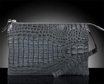 18d2c0caf Bolso de cuero del cocodrilo para los hombres hecho a mano de lujo del  embrague bolso