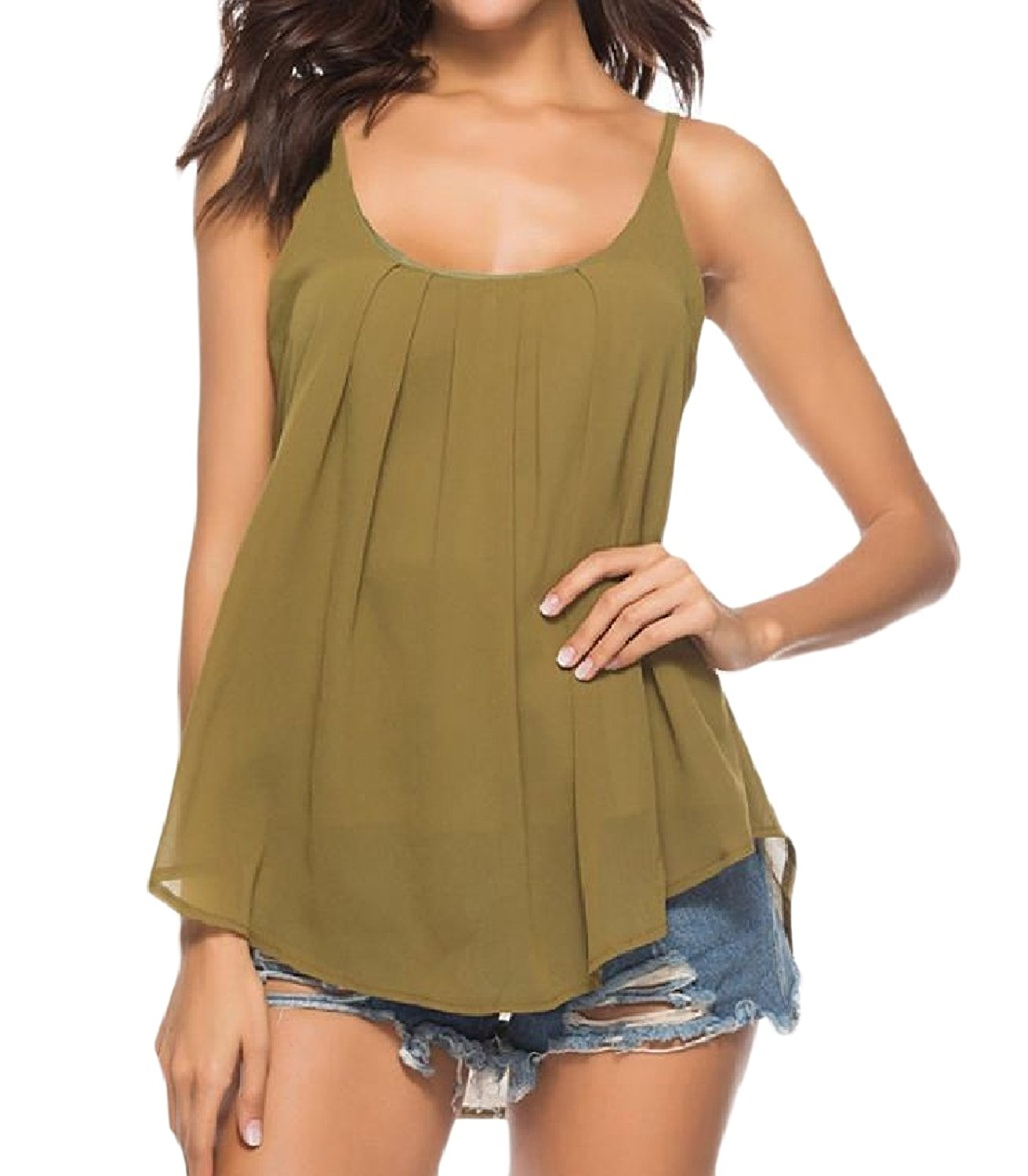 Zimaes-Women Sling Sleeveless Relaxed Chiffon Solid-Colored Tank Top
