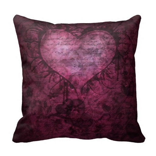 Soft Pillow Cover Gorgeous Gothic Grunge Heart Pillow Case (Size: 20