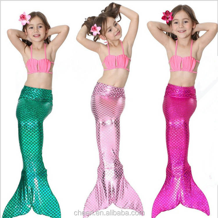 Portable Lighting Hot Little Children Mermaid Tails For Swimming Costume With Wavy Tops Mermaid Swimsuit Bikini Kids Girls Tail With Pink/blue Fin Skilful Manufacture