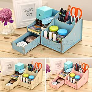 new creative Korea multifunctional ornaments student DIY box lovely color wooden pen