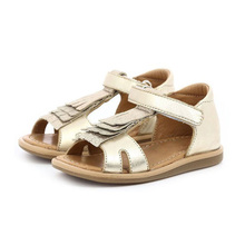 Soft style glitter and metallic PU model sole sandal shoes kid