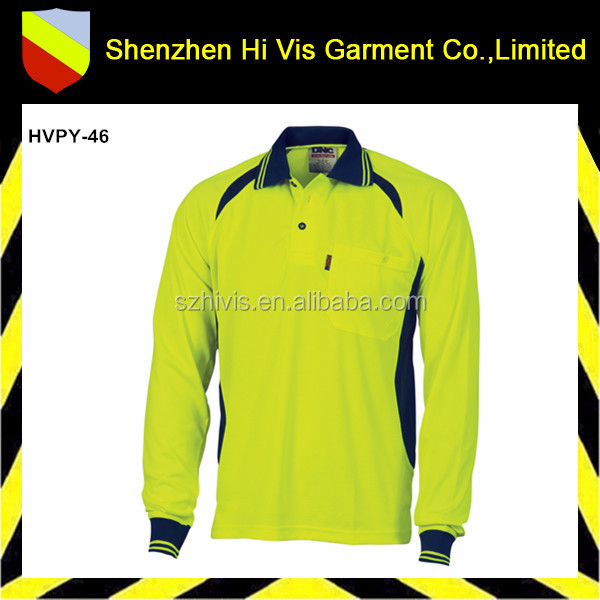 hi vis polo wholesale for men long sleeve safety polo