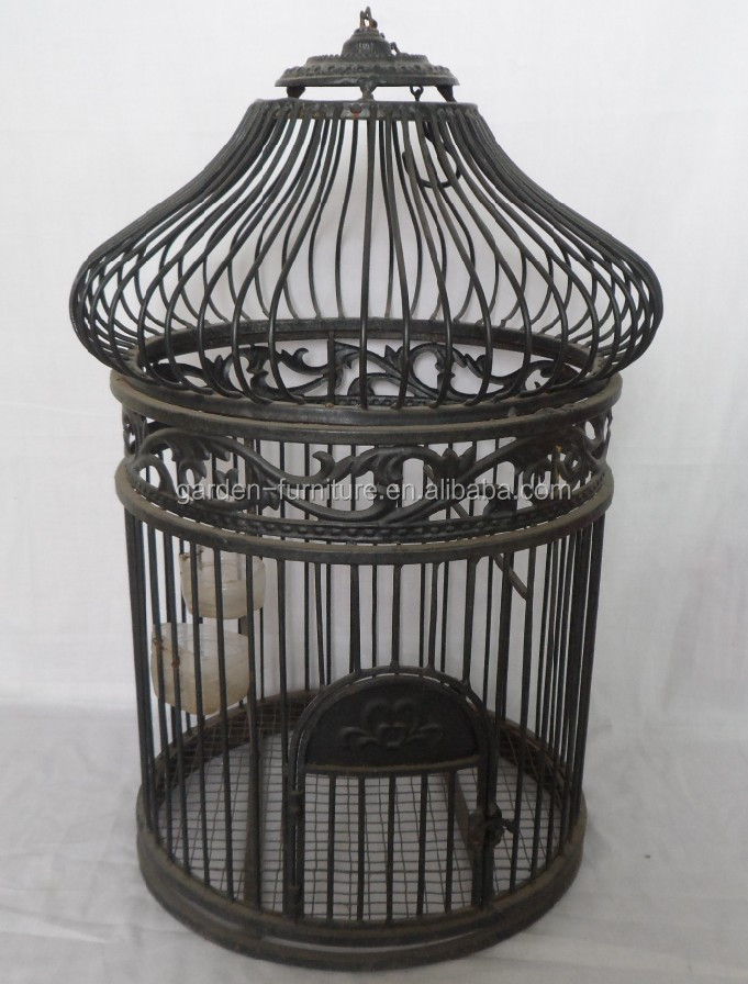 handicraft vintage hanging with stand parakeet birdage antique metal round bird cages pet. Black Bedroom Furniture Sets. Home Design Ideas