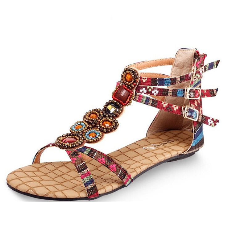 c1b69a0aefd5 Get Quotations · 2015 New Bohemia Woman Sandals Cool Beads Open Toe Flat  Sandals Women Fashion Summer Shoes