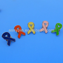 Cores sortidas broche <span class=keywords><strong>de</strong></span> prata esmalte breast cancer awareness ribbon pin do lapel