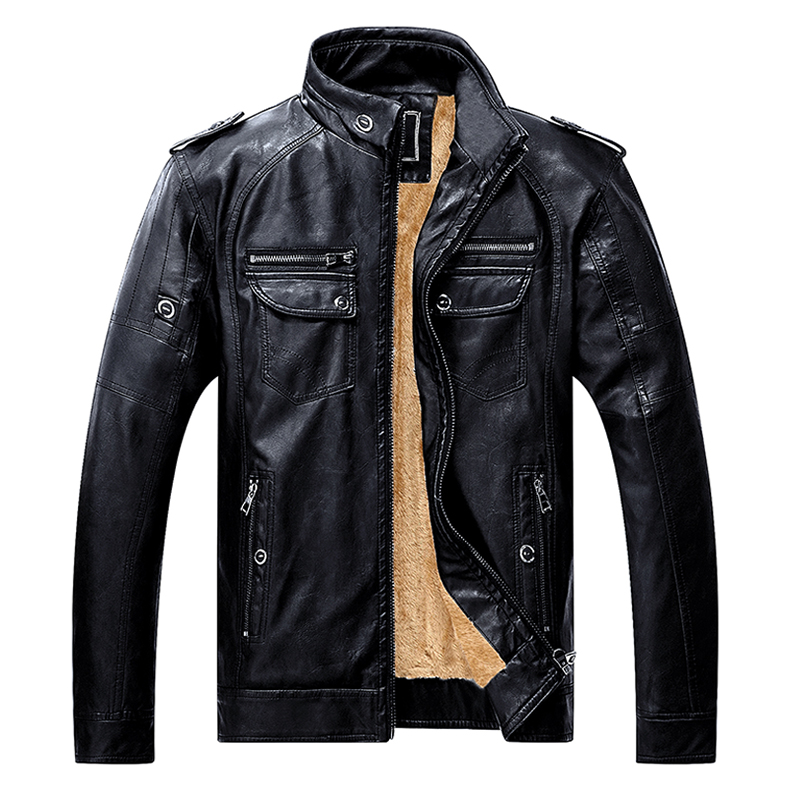 TACVASEN Winter Jacket Men Thicken Faux Leather Jacket Vintage Casual Motorcycle Biker PU Leather Jacket and Coat TD-SSDD-001