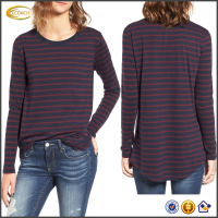 Ecoach 2016 Long Sleeve Supersoft 65% Cotton 35% Polyester Stripe Crewneck Womens Tee Shirts