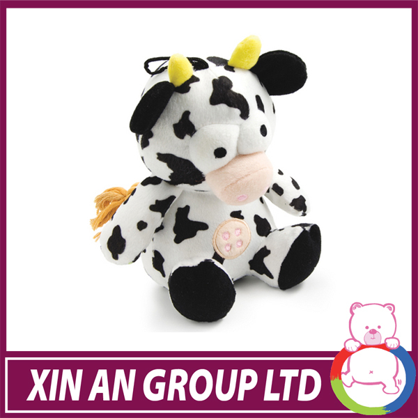 Embroidered flowers lovely plush cow stuffed farm animals