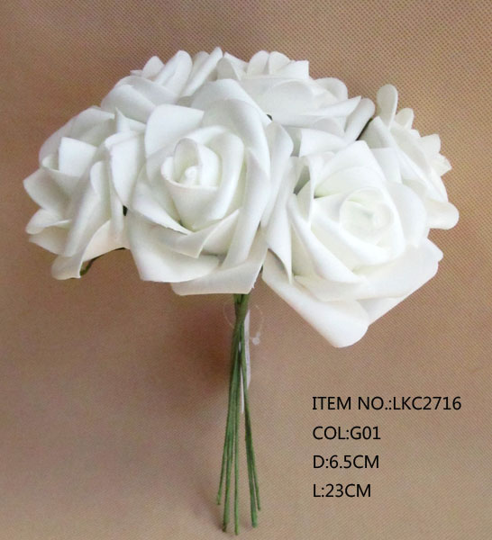 Buen vendedor Artificial PE blanco elegante flor Rosa boda decoración de la pared